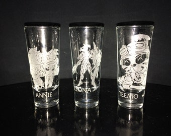 League of Legends Shot Glass- Choice of 1- Annie- Leona- Teemo- Etched Shot Glass