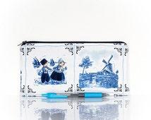 Dutch pouch, Dutch pencil case, Dutch souvenir gift, Gadget pouch, Make Up case, Cosmetic bag, pencil case, Netherlands Holland, Blue white