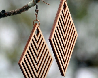 Rhombus Laser Cut Wood Earrings
