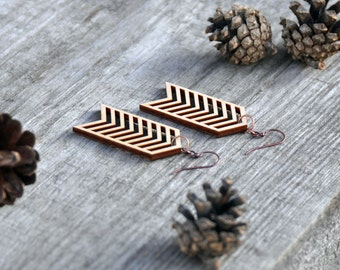 Chevron Laser Cut Wood Earrings