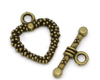Antique Brass/Bronze Finish Heart Toggle Clasp (CLP-T-AB-4), 5 sets