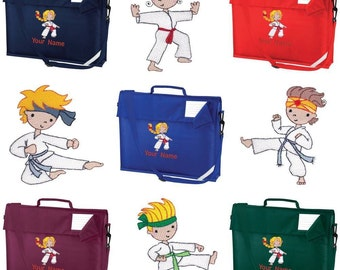 Personalised Embroidered School Book  Bag and Strap with Karate image and name KC