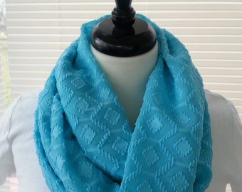 Infinity scarf,  turquoise, poly/chiffon