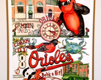 Baltimore Orioles Print, fun and bright celebrating our team at Camden Yards.
