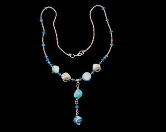 Long turquoise necklace, beaded necklace C17