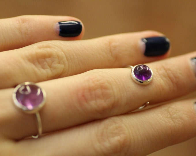 Set of two rings with Amethyst (price -30%) Amethyst ring Silver ring Gold set ring Gold ring with amethyst Natural stone ring Gift idea