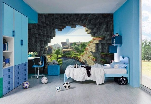 minecraft wall murals by inkyourwall on etsy. Black Bedroom Furniture Sets. Home Design Ideas
