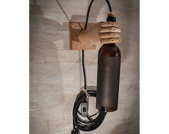 Brown wine Bottle light, wall sconce, wood lamp, wall light, wine bottle, bottle lamp, Hand lamp, Lighting,  Wine bottle lights, Brown Hand