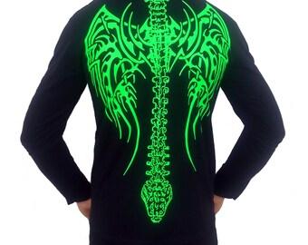 Cyber Caduceus Fluorescent Green,Spine,Wings Mens Long Sleeve T-Shirt
