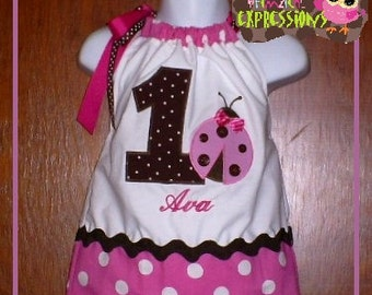 LADYBUG Birthday Dress, pink and brown dotted Party Dress, 1st birthday LADYBUG dress, 2nd 3rd 4th 5th 6th