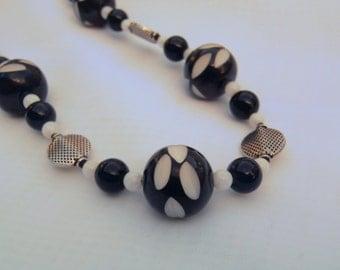 Black, White & Silver Necklace