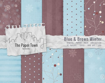 "Blue and Brown Winter Snowflakes Digital Scrapbook Paper Pack - 10 January Theme Digital Papers Downloads (12""x12"" - 300 dpi - JPG)"