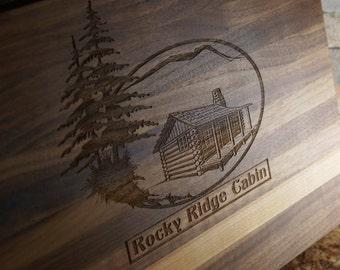 Edge grain cutting board walnut butcher block 16x11x1.5inches