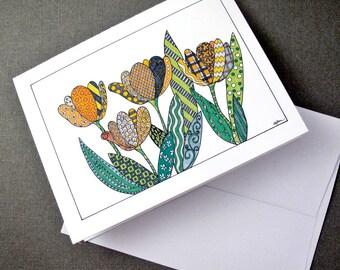 Yellow Tulips Stationery Set - Set of 8 Blank Inside Card Set