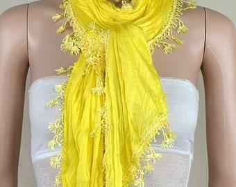 Yellow lace scarf, natural drape cotton scarf, asymmetric triangular scarf, shawl