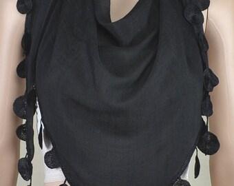 Black triangle cotton scarf, irregular lace scarf, spring, autumn decoration scarf