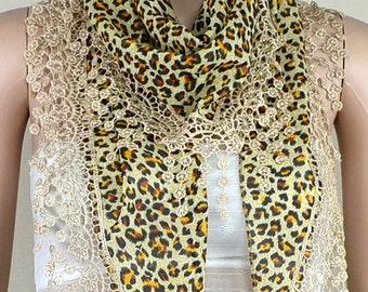 Cream-colored chiffon scarf, leopard print triangle scarf, tassel lace scarf, shawl