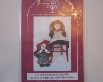 """Americana Raggedies 22"""" doll patterns, vintage, Hickory Stick & Co., raggedy anne ,andy"""
