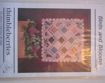 Birds and Blooms wall quilt pattern,Thimbleberries,vintage,wall hanging