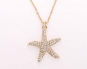 Gold Starfish Necklace Beach Wedding Bridal Bridesmaid Gift Rhinestone Starfish Charm Pendant Necklace Accessory Nautical Gold Beach Jewelry