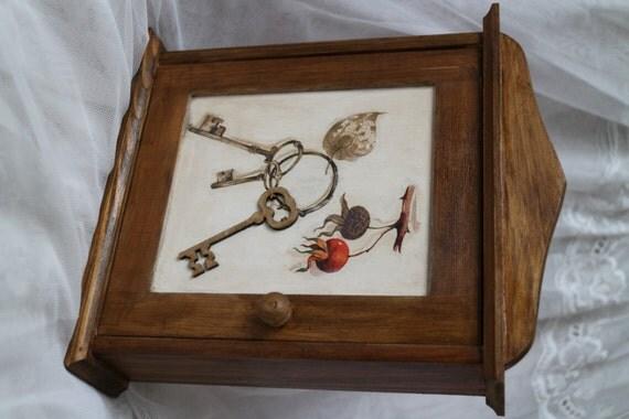 Items similar to wood key holder decoupage cabinet