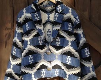 VINTAGE Blue Black and White Southwestern Jacket