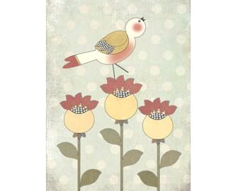 """Children's Giclee Folk Art Print """"Tweet"""""""