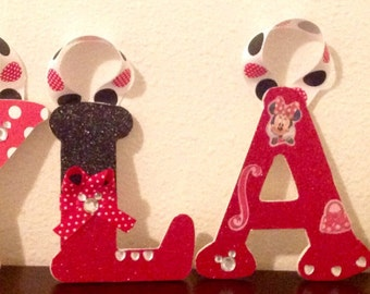 Baby Nursery Wall Letters- Minnie Mouse Theme- Baby Nursery Letters, Wall Decor, Kid's Room, Personalized Name