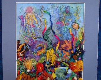 Coral Reef 3D Fiber Art, coral reef art, coral reef decoration, coral reef wall hanging, handcrafted coral reef, fiber art, seascape, 3D art