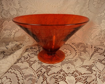 Tiffin Art Glass Amberina Footed Centerpiece Bowl