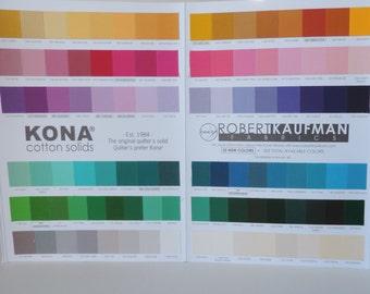 Robert Kaufman Kona Color Card 303 total colors