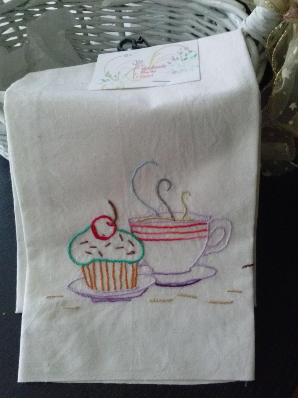 Tea towel hand embroidery cupcake tea towel by anasdesignshop