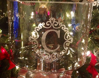 Custom Personalized Monogrammed Initial Dessert Dish, Glass Trifle Bowl