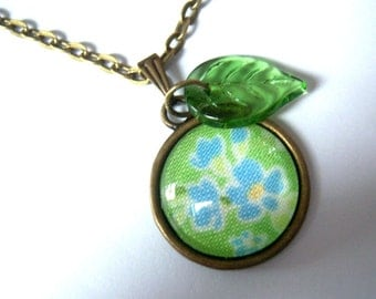 Bronze, bronze tone pendant glass cabochon necklace fabric forget me not blue green small glass leaf