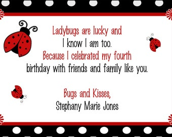Ladybug Birthday Party Thank You Card