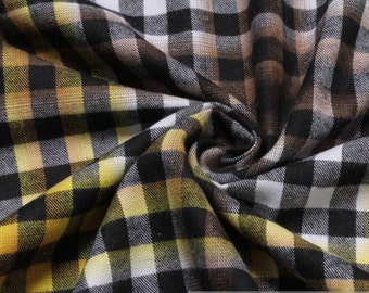 Fabric pure cotton flanell gingham black white yellow crease-resistant