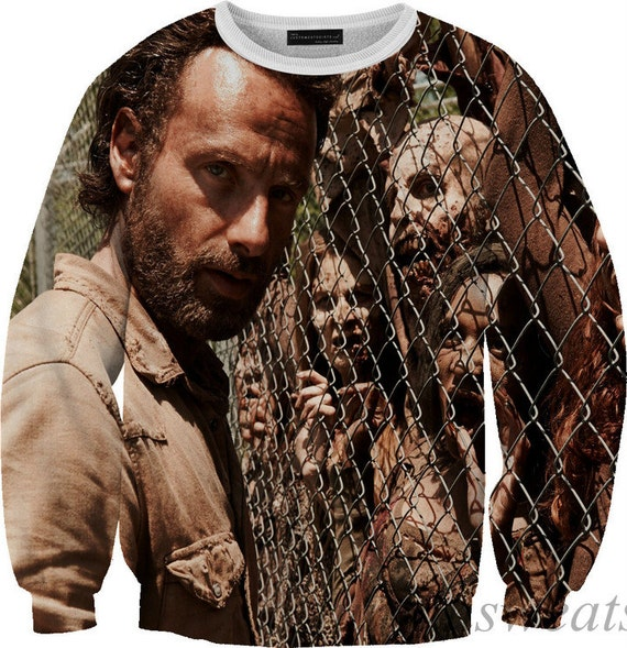 rick and zombies walking dead t-shirt