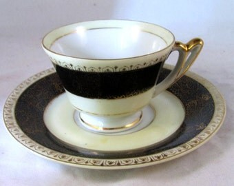 Vintage Ucagco China Cup and Saucer Black & Gold Demitasse Cup