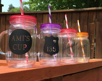 Mason Jar w/lid and straw