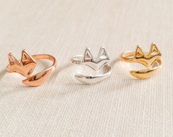 Fox ring, fox tail ring, adjustable ring, knuckle ring, midi ring, animal ring, cute ring in gold, silver or rose gold