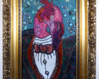 Fernando, A Flamingo in a Tartan Suit - embroidered bird textile in a gold frame