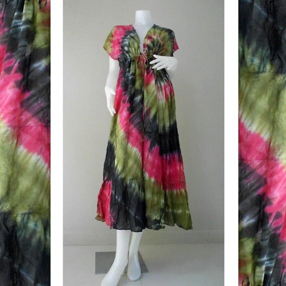 New Tropical Colorful Tie Dye Cotton Boho Hippie V-Neck Long Kimono Women Summer Dress S-L  (TD 468)