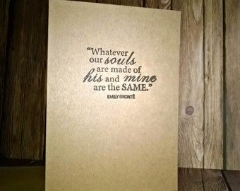 Wedding Card Bronte Quote - Eco Friendly - Hand Stamped