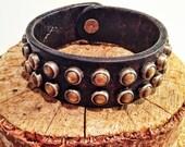 Industrial Black Leather Bracelet w Bezeled Studs