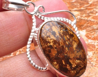 Natural Bronzite silver plated  pendant  ( #J560)