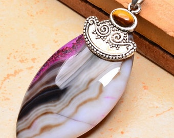 Agate and Tiger Eye silver plated pendant ( #J1208)