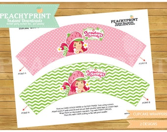 Strawberry Shortcake Cupcake Wrapper Instant Download