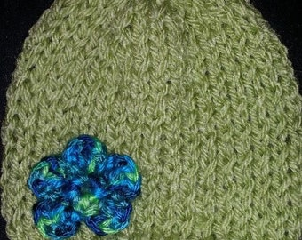 Handmade Cotton Blend Baby Beanie Hat ~ Lovely Pale Green with Blue Flower