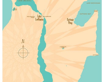 Lake Leelanau, MI Map Print