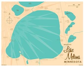 Lake Melissa, MN Map Print
